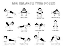 Yoga Arm Balance Poses Vector Illustration Monochrome. Yoga Posture EPS10 File Format Royalty Free Stock Photography