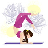 Yoga asana. Girl with lotus. Royalty Free Stock Photography