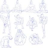 Yoga Asana. Hand drawn illustration about the handsome yogi playing asanas positions Stock Photography