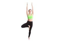 Yoga asana Vriksasana. Serene smiling slim girl on white background doing exercise for spine flexibility, standing in Tree Pose, asana vrikshasana, Vriksasana Royalty Free Stock Photos