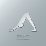 Yoga asanas. Adho Mukha Svanasana. Downward-facing dog pose. Cut-out paper Design Stock Photo