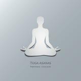 Yoga asanas. Padmasana. Lotus pose. Cut-out paper Design Stock Photography