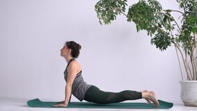Yoga Assana training. Exercises to stretch and strengthen your back muscles. Attractive adult girl performs exercises