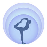 Yoga and aura. Dark blue silhouette of the man, carrying out exercise of yoga and aura around of it Stock Images