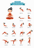 Yoga for back pain infographic Royalty Free Stock Image