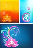 Yoga background set. Three colorful abstract yoga backgrounds with logo Stock Image