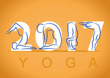 Yoga background with symbol of new year 2017 Stock Photo