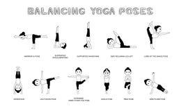 Yoga Balancing Poses Vector Illustration Monochrome Royalty Free Stock Images