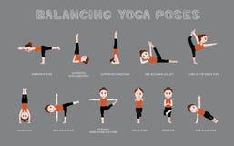 Yoga Balancing Poses Vector Illustration Royalty Free Stock Image