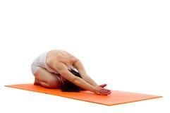 Yoga Balasasna pose. Yoga series: Balasana, Child's Pose,or Child's Resting Pose is an asana Royalty Free Stock Photos