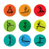 Yoga ballet icons set cartoon shadow Royalty Free Stock Image