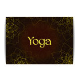 Yoga banner with floral mandalas and golden text Royalty Free Stock Photos