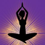 Yoga banner with sitting girl silhouette, black figure on purple background with brilliant yellow rays. Vector EPS 10 Stock Image