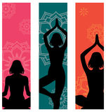Yoga banners. Set of 3 yoga banners with silhouettes of different postures Royalty Free Stock Photography