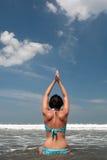 Yoga at the beach Stock Photos