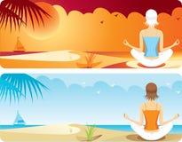 Yoga at the beach. Women who do yoga on the beach Stock Image