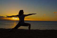 Yoga on the Beach Royalty Free Stock Photos
