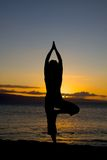 Yoga on the Beach. A woman doing tree pose in yoga silhouetted in the sunset on the beach Stock Photos