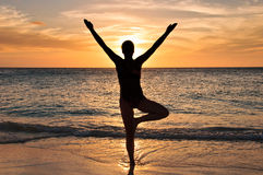 Yoga on beach Royalty Free Stock Image