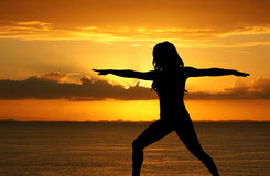 Yoga At Beach Royalty Free Stock Photos