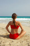 Yoga on beach Stock Photography