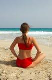 Yoga on beach Stock Photography