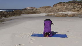 Yoga at the Beach in California stock footage