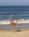 Yoga at the beach of Goa royalty free stock images