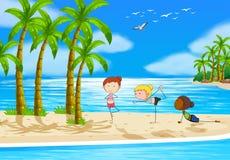 Yoga and beach Stock Image