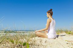 Yoga on the beach series Royalty Free Stock Photography