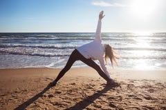 yoga utthita trikonasana triangle pose stock photo  image