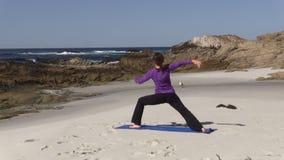 Yoga on the Beach stock video