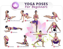 yoga for beginners poses stick figure set stock vector