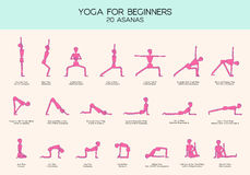 Yoga for beginners poses stick figure set. Vector set of stick figures doing yoga asanas, yoga for beginners, gymnastics people infographics, 20 basic poses Stock Images