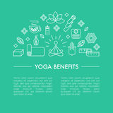 Yoga benefits poster or iluustration for an article. Stock Photos