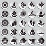 Yoga bezog sich die Ikonen, die auf Plattenhintergrund für Grafik und Webdesign eingestellt wurden Einfaches Vektorzeichen Intern vektor abbildung