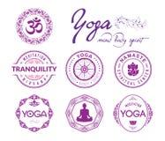 Yoga bezogene Stempel und Dichtungen Stockbild