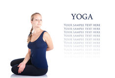 Yoga bharadvadjasana twist pose Stock Photos