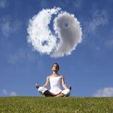 Yoga bij de aard Stock Foto