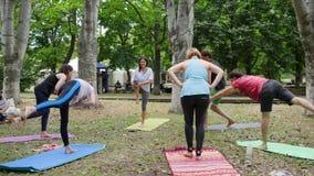 Yoga bij de geschiktheidsopwarming van de openlucht, mensenpraktijk op mat, yogaklasse in openlucht, gezonde levensstijl, gezonde stock videobeelden