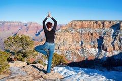 Yoga bij Grote Canion Stock Foto's