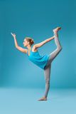 Yoga on blue stock images
