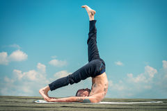 Yoga and the blue sky Royalty Free Stock Images