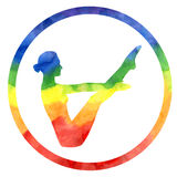 Yoga boat pose in rainbow colors. Royalty Free Stock Photography