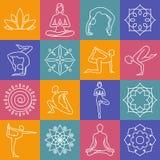 Yoga, body poses vector symbols for pilates studio, meditation class Royalty Free Stock Photography