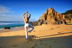 Yoga bor ett fritt sunt liv för spänning royaltyfria bilder