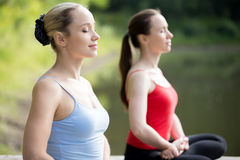 Yoga breathing practice Royalty Free Stock Image