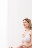 Yoga breathing in pregnancy Stock Photo
