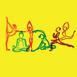 Yoga brush drawing vector overlay Royalty Free Stock Photography