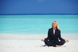 Yoga business woman Royalty Free Stock Photo